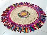 Indian-Shoppers Hippie - Alfombra redonda de tela de yute bohemia tradicional tejida a mano, hecha a mano, hecha a mano, redonda, para asiento de yoga, bohemio, vintage, decoración para el suelo