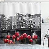 N \ A Cortina de ducha, foto del canal de Amsterdam con tulipanes y casas, juego de baño con ganchos, 72 pulgadas de largo