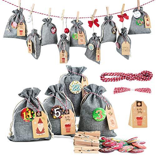 Adventskalender zum Befüllen Groß (13x17cm), Weihnachtskalender Jutesäckchen Selberfüllen, 24 jutebeutel Kette zum selber befüllbar und Aufhängen, 2020 Geschenksäckchen für Kinder Männer Grau
