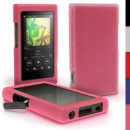iGadgitz U6412 Rosa Funda Carcasa Silicona Case Compatible con Sony Walkman NW-A35 NW-A40 NW-A45 Reproductor de MP3 + Protector de Pantalla