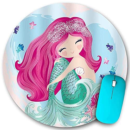 Rundes Mauspad rutschfester Gummi, niedliche Meerjungfrau Mädchen Cartoon Kinder blaues Herz buntes lila Haar Seetang Fisch, wasserdichte haltbare Mausmatte Büro...