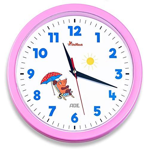 """Wanduhr - Die Sendung mit der Maus \""""Edition Freundschaft\"""" (Analoge Uhr ohne Tickgeräusche, 25 cm Durchmesser, präzises Quarz-Uhrwerk) rosa"""