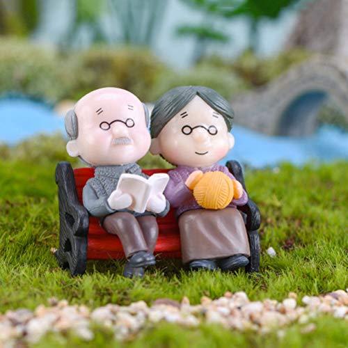 Bestim Incuk Miniatur-Feengarten Opa & Oma Ornament Puppenhaus Pflanztopf Figur DIY Outdoor Decor Heimdekoration