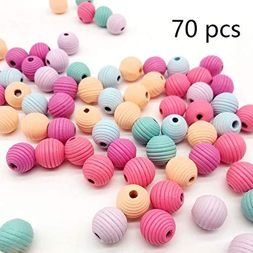 DAHI holzperlen 70stk bunt holzkugeln Runde gemischte Holz perlen mit Loch bastelnperlen für DIY Schmuck Herstellung (bunt-E/20mm-70stk)