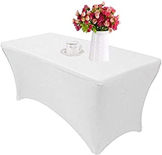 MeterMall Christmas Tablecloth, 122x76x76CM Rectangular Table Cover 4-Way Tight Fitted Stretch Tablecloth Table Cloth for ...