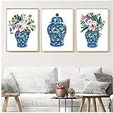 ASLKUYT Ingwer Jar Bouquets Aquarell Chinoiserie Dekor Leinwanddruck Blumen Botanisches Poster Orientalische Vase Rosen Malerei Porzellan Jar-20x28x3 Stück IN No Frame