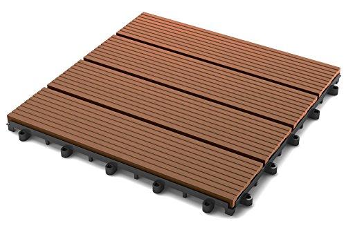 SAM Terrassen-Fliese WPC Kunststoff, Einzelfliese, Farbe teak, Garten, Balkon- Bodenbelag mit Drainage, Klick-Fliese