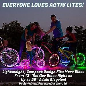 Activ Life Luces LED para Ruedas (1 neumático, Verde) Divertidas Luces de radios de Bicicleta, Regalos para papá, mamá, niños