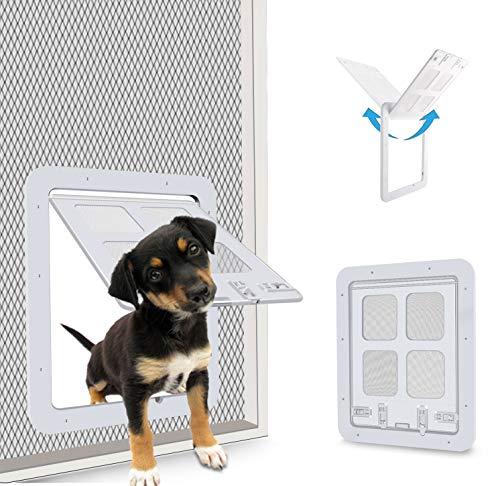 CEESC Hundeklappe Katzenklappe fliegengittertür (Außengröße:24 x 29cm), 4-Wege-Verriegelung Haustierklappe Fliegengitter für kleine Hunde und Katzen mit einem Umfang <60cm (Weiß)