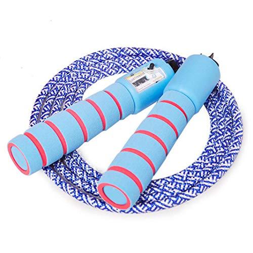 JOJOR Kinder Springseil Baumwolle mit Zähler Und Komfortablen & Anti-Rutsch Griffen, ideal für Fitness Sport Outdoor (Blau)