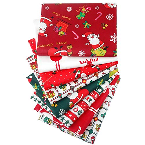 Aubliss 8pcs Christmas Fat Quarter Fabric Bundles (100% Cotton - 20in x 20in / 50cm x 50cm) Quilting Cotton Craft Fabric Pre-Cut Squares Sheets for Patchwork Sewing Quilting Crafting