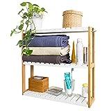 SoBuyFRG28-WN,Estantería de Pared, estantería de baño, librería, estantería de Cocina de bambú, Color: Natural/Blanco,ES