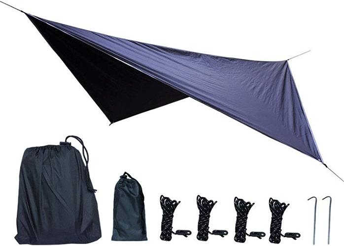 Bache de camping portable durable 11.8x9.5 pieds étanche hamac pluie mouche tente parasol bache abri avec piquets cordes équipeHommest de survie kit pour le camping randonnée sac à dos de pêche plage pou