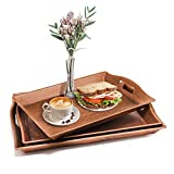 Set of 3 Large Serving Trays w/Handles Nesting Breakfast Serving Trays Afternoon Tea Tray Decorative Rectangular Display Tray Set Nested Food Tray Butler Serving Tray for Kitchen Party Dinner Snack