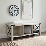 Walker Edison Sedalia Modern Farmhouse Metal X Entryway Bench, 48 Inch, White Oak