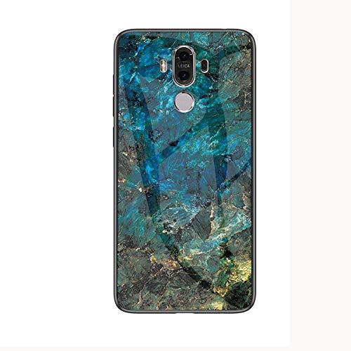 SHIEID Cover per Huawei Mate 9,Mármol Vidrio Templado de Case Cover Ultra Fina Silicona Gel Caja Carcasa Antideslizante de Carcasa Blanda para Cover per Huawei Mate 9 (BLU)