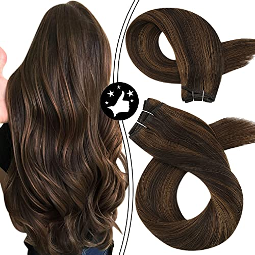 Moresoo Hair Weft Sew in Extensions 100% Natural Real Human Hair Weft Extensions #2 Darkest Brown Highlighted with #8 Light Brown Hair Weave Bundles 14 Inch Hair Bundles Brazilian Hair 100 Gram