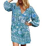 showsing Damen Strandkleid Bohemian Tunika Sommerkleid V-Ausschnitt Blumenkleid Lose T-Shirt Kleid Floral Minikleid -