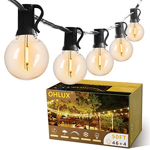 OHLUX Outdoor String Lights 50FT with 46+4spares Dimmable Shatterproof Waterproof LED G40 Globe Bulbs - Clear Plastic, 1W 40LM 2700K Warm Glow for Patio, Backyard, Garden, Indoor Outdoor Decoration