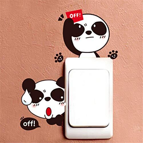 TYLOLMZ Cartoon Mooie zwart wit panda stopcontact schakelaar wandsticker vinyl sticker wooncultuur dier sticker aan de muur afneembaar