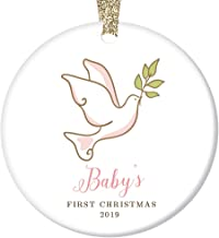 Baby Girl's First Christmas Ornament 2019 Peace Dove Infant Daughter Grandchild 1st Holiday Porcelain Keepsake Newborn Female Child 3