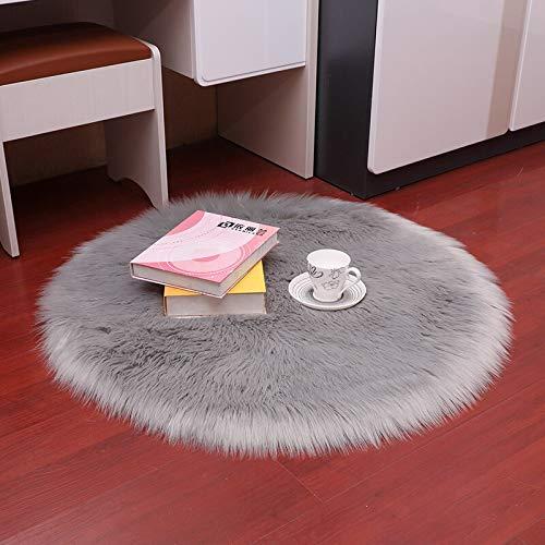 YIWOYI Alfombra de piel sintética, circular, 30 x 30 cm, alfombra de piel de oveja artificial para dormitorio, alfombra de lana artificial, asiento de piel textil, 30 x 30 cm