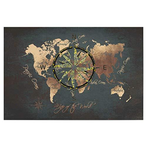 artboxONE Poster 30x20 cm Reise World map Wind Rose 4 Brown - Bild weltkarten farbige Karte Karte