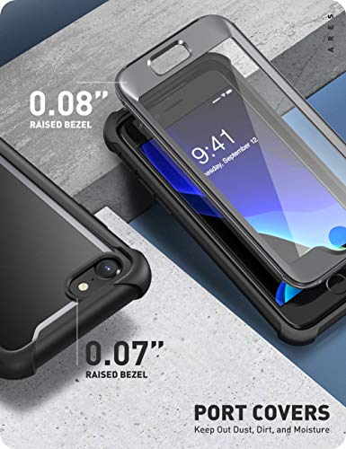 i-Blason Ares Designed for iPhone SE 2020 Case/iPhone 7 Case/iPhone 8 Case, [Built-in Screen Protector] Full-Body Rugged Clear Bumper Case for iPhone SE 2020/ iPhone 8/ iPhone 7 (Black)