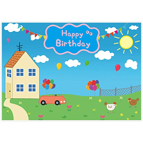 Allenjoy 7x5ft Happy Birthday Party Colorful Backdrop Favors Cartoon House Trees Street Sky Flags Props Photography Baby Shower Kids Boys Prince Celebration Photo Booth Studio Props Banner Decorations