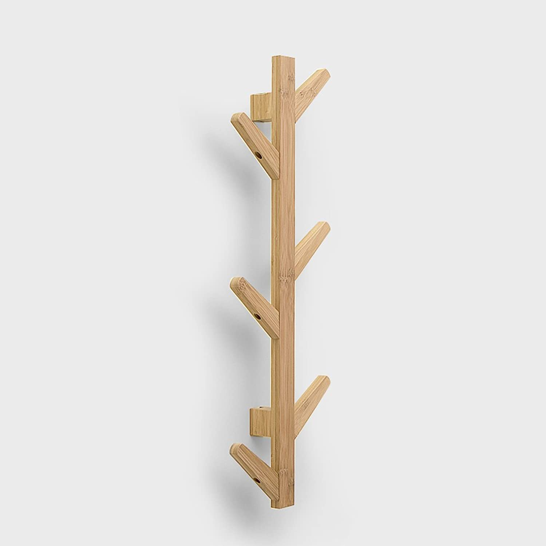 Wall Mounted Coat Rack - Coat Rail with 6 Door Coat Hooks for Jackets, Robes, Scarves and Towels - Closet Coat Rack - Pine Wooden Board Coat Rack Hanger (color   Natural)