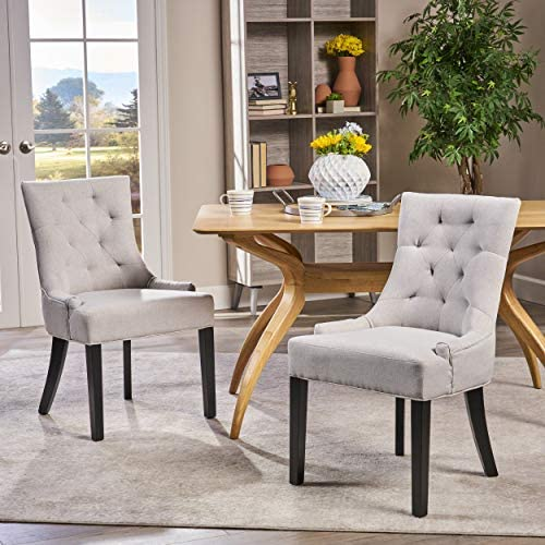 Best Christopher Knight Home Hayden Fabric Dining Chairs, 2-Pcs Set, Light Grey