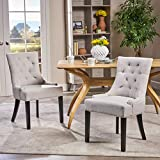 Christopher Knight Home Hayden Fabric Dining Chairs, 2-Pcs Set, Light Grey