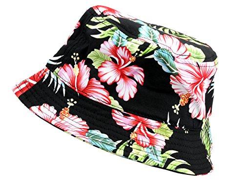 NYFASHION101 Fashionable Unisex Satin Lined Printed Pattern Cotton Bucket Hat