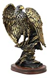 Ebros 10.25' Tall Patriotic Bald Eagle On Rocks Statue Wild Bird Eagle Decorative Bronze Patina Resin Figurine