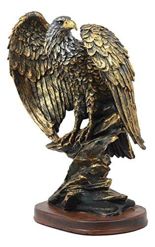 Ebros 10.25' Tall Patriotic Bald Eagle On Rocks Statue Wild Bird Eagle Decorative Bronze Patina Resin Figurine
