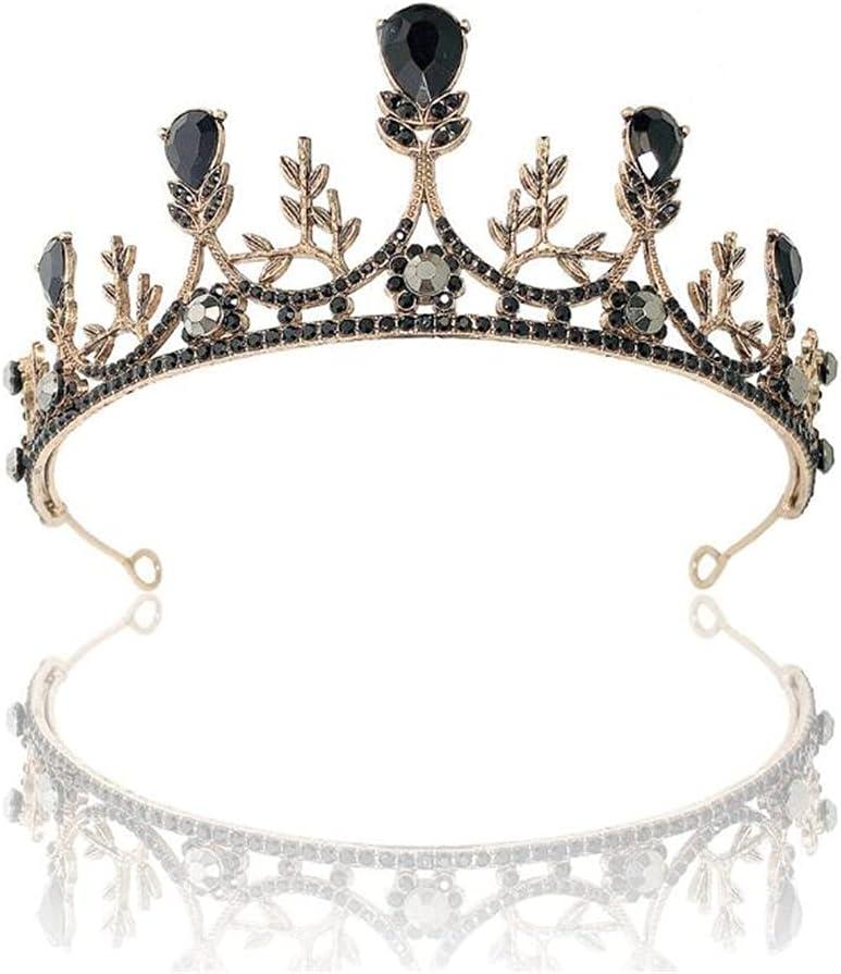 YXY Bridal Headdress Vintage Black Shiny Crown Wedding Dress Wedding Birthday Queen Crown