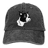 DAIAII Hombre Mujer Gorras de béisbol, Boston Terrier Dog Mens Womens Adjustable Denim Fabric Baseball Cap Hip Hop Hats