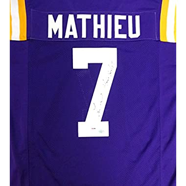 Tyrann Mathieu Autographed LSU Tigers Purple Jersey  Honey Badger  PSA/DNA