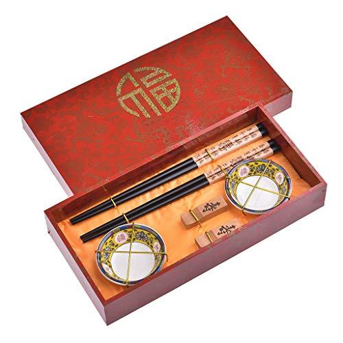 Quantum Abacus Set di Bacchette con Ciotole in Ceramica Dragon e Vita Lunga in Confezione Decorativa, 2 Bacchette cesellate in Legno, 2 poggiabacchette, 2 Ciotole in Ceramica, H2-S2-B-W-01