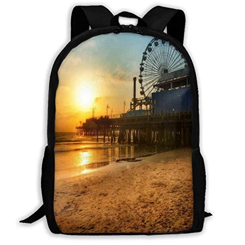 DJNGN School Unisex Backpack Bags Rucksack Backpack Los Angeles Happy Ferris Wheel Zipper School Bookbag Daypack Travel Rucksack Gym Bag for Man Women