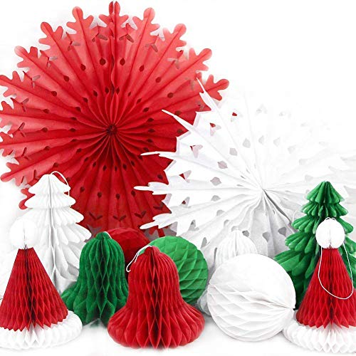 SUNBEAUTY Christmas Party Decorations Paper Fans Paper Honeycomb Balls Bell Hat Tree Honeycombs for Xmas Christmas Home Party Supplies