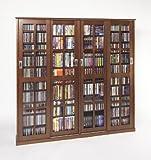 Leslie Dame Mission Style Multimedia Storage Cabinet with Sliding Glass Doors, Walnut
