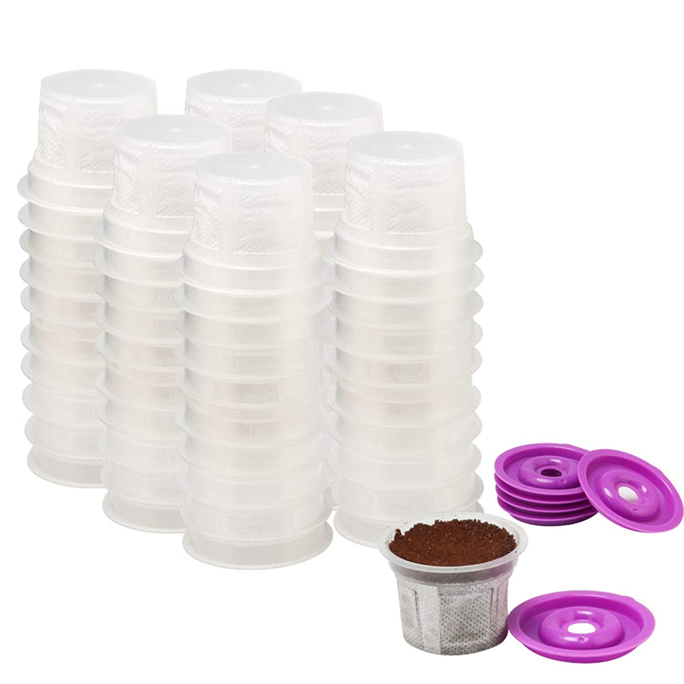 Disposable Cups for Use in Keurig Brewers - Simple Cups - 100 Cups, 10 Lids - Use Your Own Coffee in K-cups