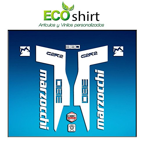 Ecoshirt 4T-MFZS-WSVT Stickers Fork Marzocchi 380 C2Rc Am71 Aufkleber Decals Autocollants Fourche Gabel Fourche Blanc
