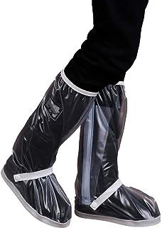 防水靴カバー 防水オーバーシューズ、防水レインブーツシューズ女性用男性 - ブラックアンチスリップ再利用可能なウォッシャブルレインスノーブーツカバー付き反射ストリップトラベルバイクオートバイブーツ