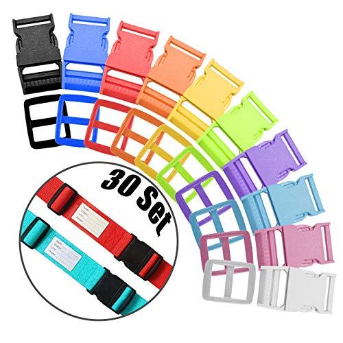 Zuzer Fibbia per Zaino in Plastica,30 Set 25mm Rilascio Laterale Fibbie Plastica Fibbie Clip e Clip Tri-Glide Per la Tessitura Zaino(10 Colori)