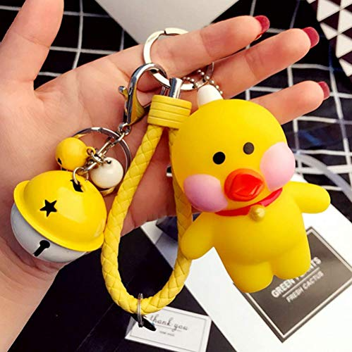 Cartoon Duck Car Keychain, Creative Woven Rope Key Chain Bag Keyring Pendant Accessory Bag Charm w/Bell Best Birthday Gift for Men and Women (Duck)