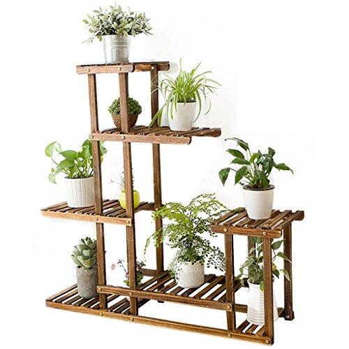 $Etagère d'exposition Support de fleur en bois massif Intérieur de balcon Salle de séjour Ensemble de plantes Multi-couche multi-fonction