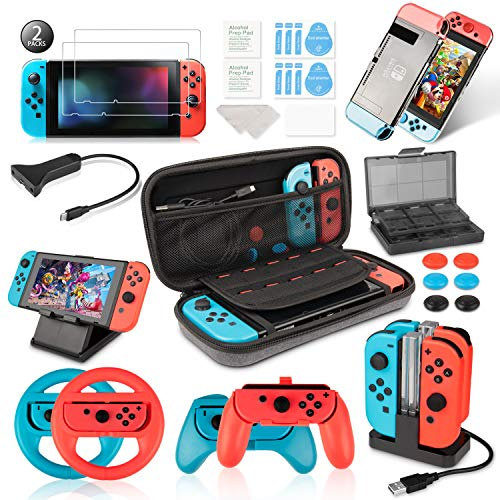 Keten Accessories Kit for Nintendo Switch, Including Carry Case, Charging Dock, Playstand, Extension Cable, Game Card Case, Screen Protector, Joy-Con Grips, Wheels, Crystal Case, TPU Case, Caps