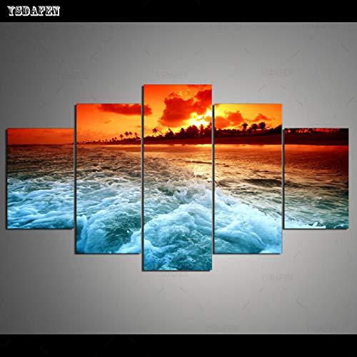 HTBYTXZ 5 Piezas de Lienzo Arte de la Pared Pintura Marina Lienzo para Sala de Estar módulo de Pared Pintura Mural Arte 40x60 40x80 40x100cm sin Marco